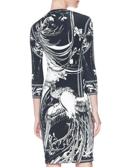 Idra-Print 3/4-Sleeve Ponte Dress