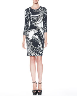Roberto Cavalli Idra-Print 3/4-Sleeve Ponte Dress