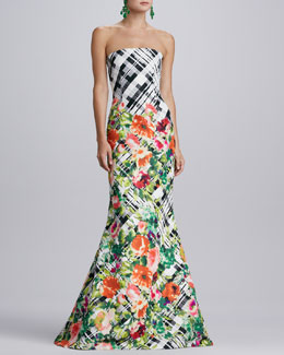Oscar de la Renta Floral Plaid Gown, Black/White/Multi
