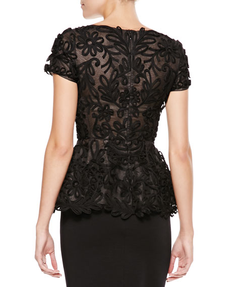 Short-Sleeve Passementerie Peplum Top