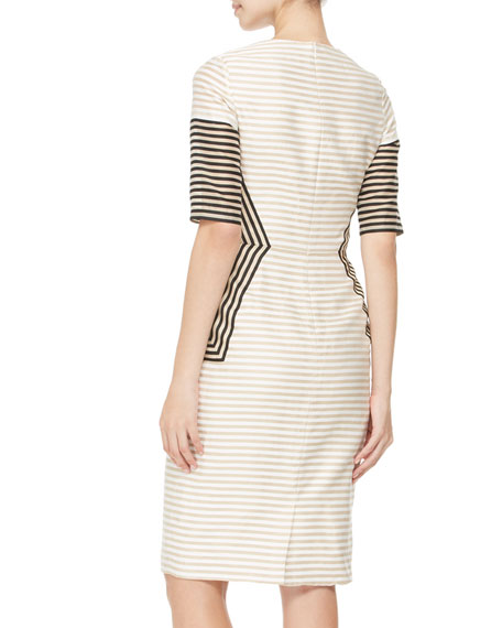 Striped Peaked-Panel Dress