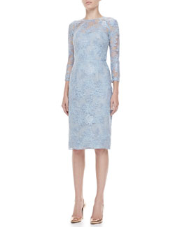 Lela Rose 3/4-Sleeve Lace-Overlay Dress