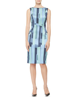 Lela Rose Printed Side-Seamed Sheath