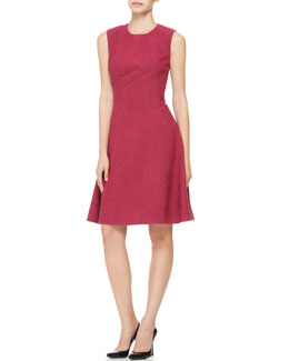 Lela Rose Printed Seamed Drop-Waist Dress