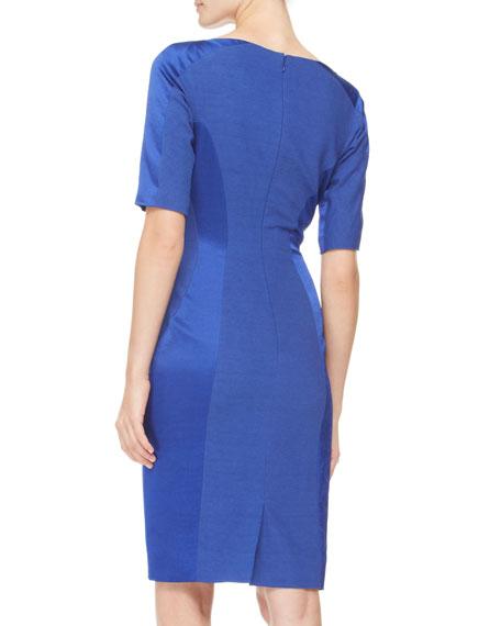 Short-Sleeve Paneled Dress