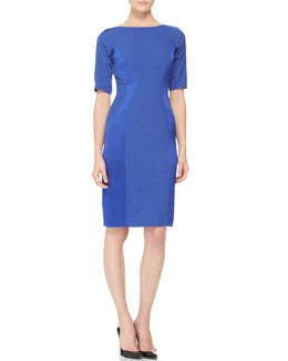 Lela Rose Short-Sleeve Paneled Dress