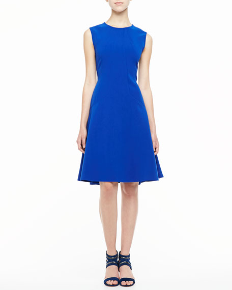 Lela Rose Sophia Seamed Drop Waist Dress, Cobalt