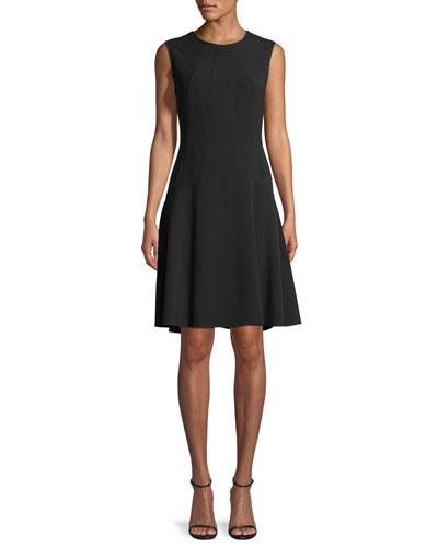 Sleeveless Drop-Waist A-Line Dress, Black
