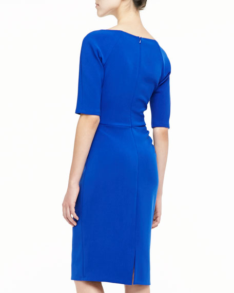 Deedie 3/4-Sleeve Side Ruched Dress, Cobalt