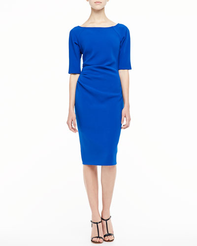 Lela Rose 3/4-Sleeve Ruched Dress, Cobalt