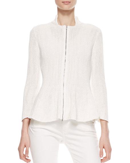 Zip-Front Knit Peplum Jacket, Off White