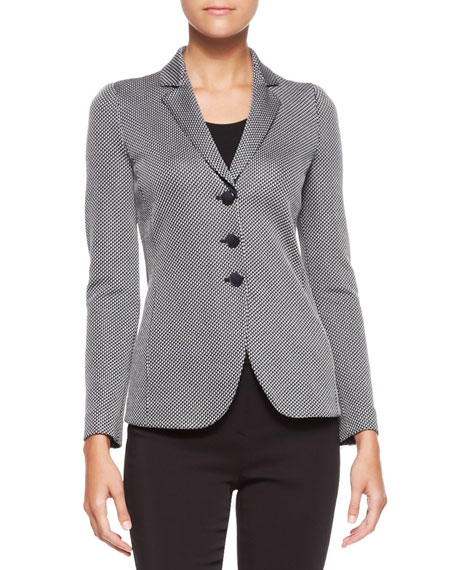 Three-Button Jersey Jacket, Black/White
