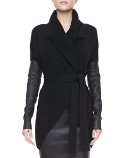 Donna Karan Belted Leather-Sleeve Cardigan