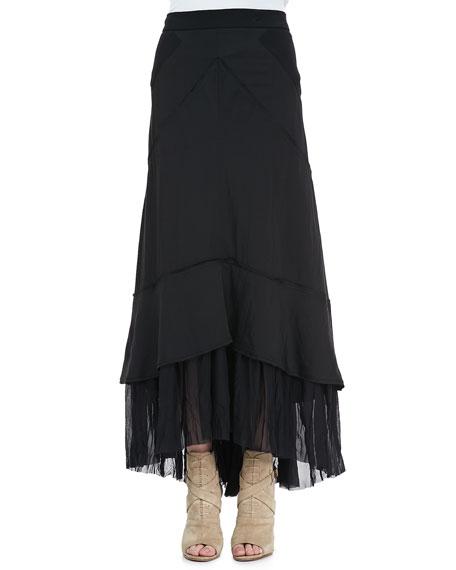 Flared Pleat-Hem Maxi Skirt