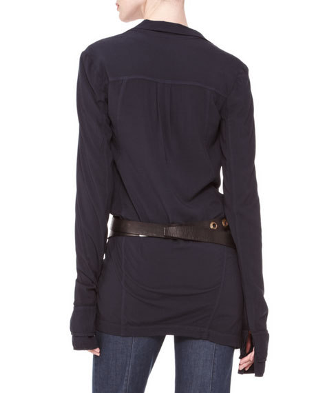 Long-Sleeve Drape-Front Blouse