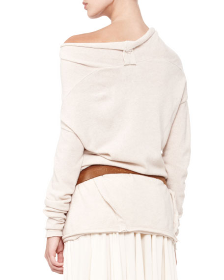 Asymmetric-Neck Drape Tunic