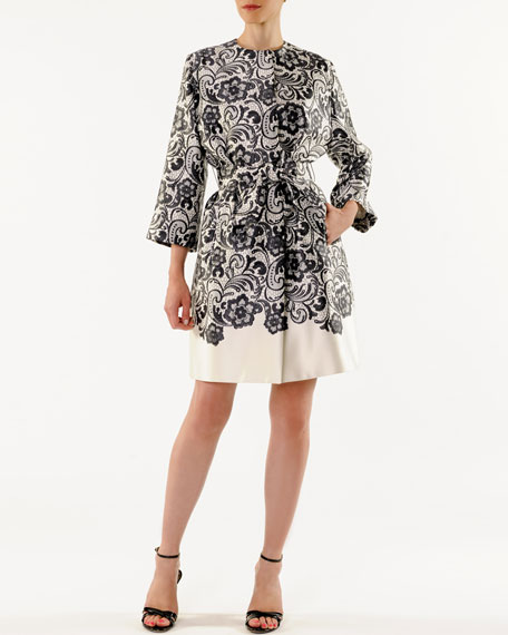 Lace-Print Belted Robe Coat