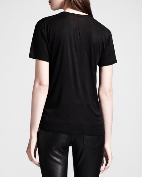 Silk Jersey V-Neck Tee, Black