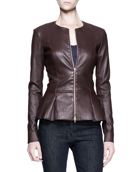 Stretch Leather Peplum Jacket
