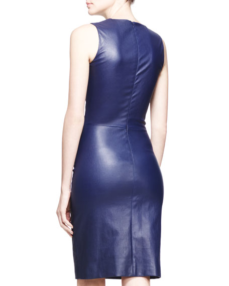 Stretch Leather Sheath Dress, Imperial Blue