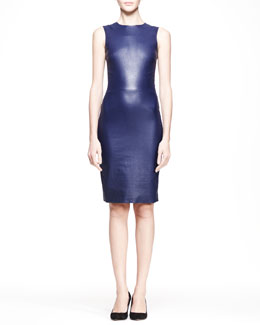 THE ROW Stretch Leather Sheath Dress, Imperial Blue