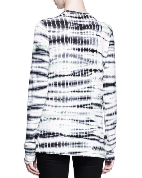 Long Sleeve Tie-Dye T-Shirt, Navy/Aqua