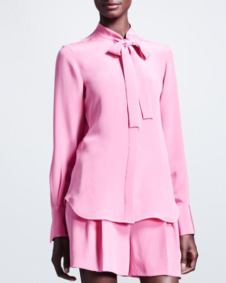 Marocain Silk Tie-Neck Blouse, Framboise Pink