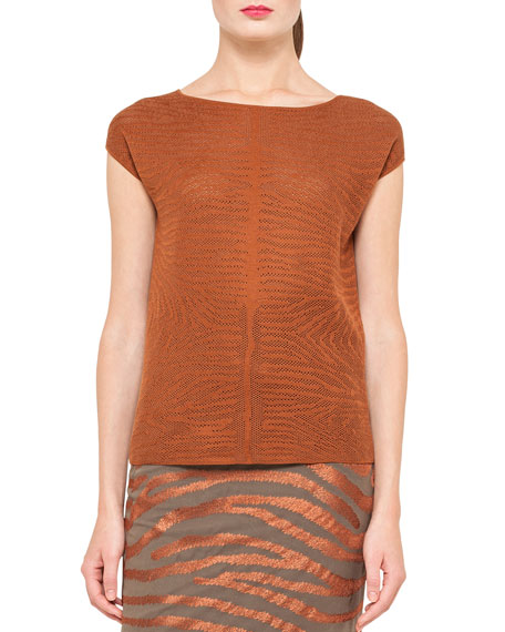 Zebra-Knit Pullover Top