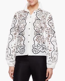Carolina Herrera Floral Full-Sleeve Blouse, Ivory/Black