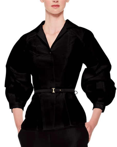 Carolina Herrera Silk Faille Balloon-Sleeve Blouse, Black