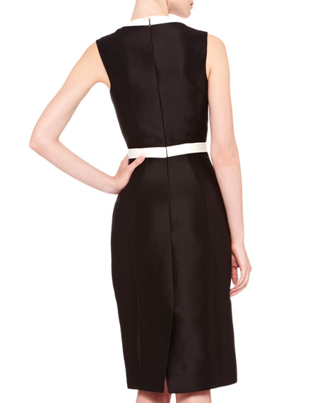 Two-Tone V-Neck Sheath Dress, Black/Ivory