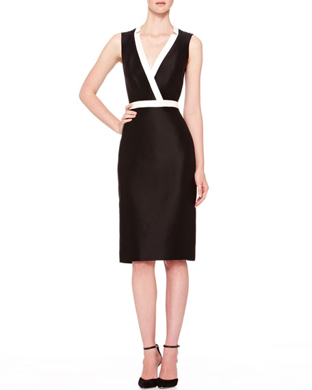 Carolina Herrera Two-Tone V-Neck Sheath Dress, Black/Ivory