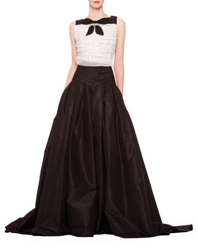 Long A-Line Silk Skirt, Black