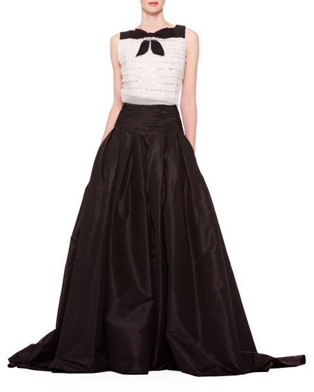Carolina Herrera Long A-Line Silk Skirt, Black