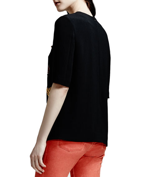 Beaded Stretch Cady Tulip-Hem Top, Black