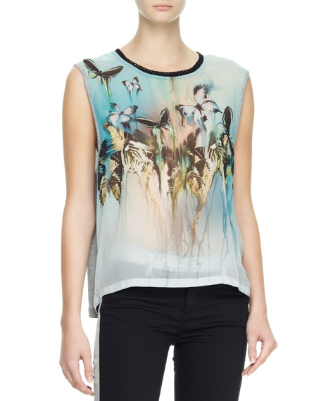 Sleeveless Butterfly Blouse, Gray/Multi
