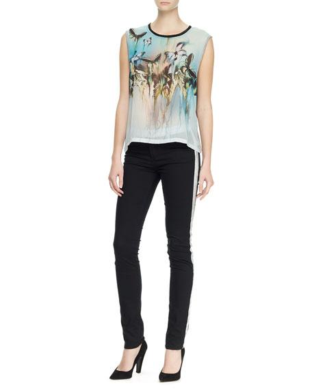 Skinny Pants with Stripe, Black/Silver
