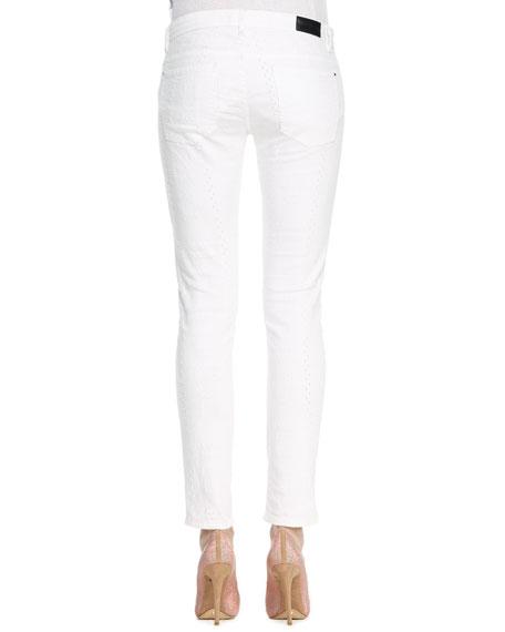 Tile Laser Skinny Jeans, White