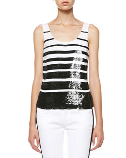 Ralph Lauren Black Label Livie Sequined Stripe Tank