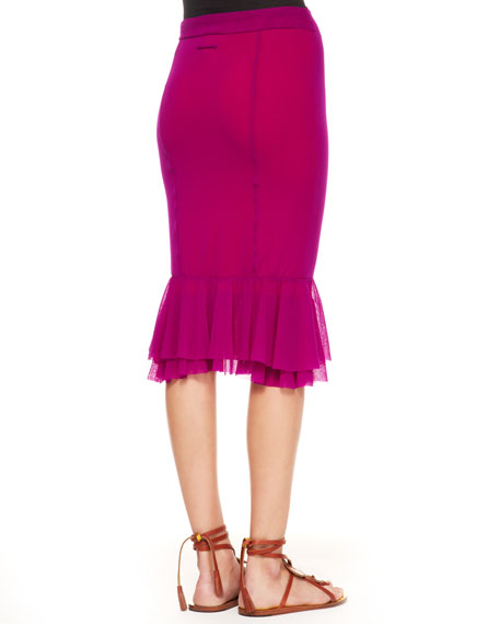 Tulle Peplum Skirt, Magenta