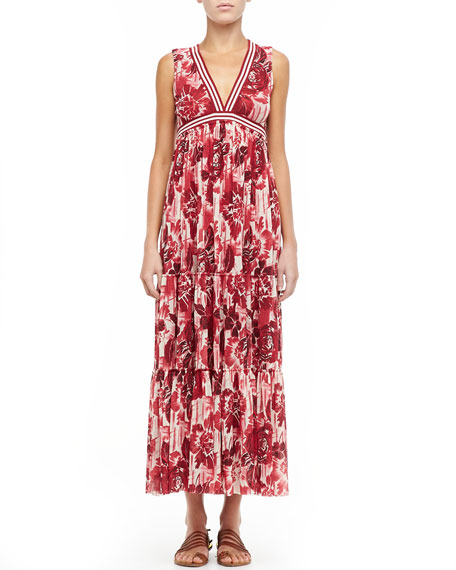 Printed Jersey Maxi Dress, Red