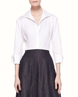 Donna Karan 3/4-Sleeve Poplin Blouse, White