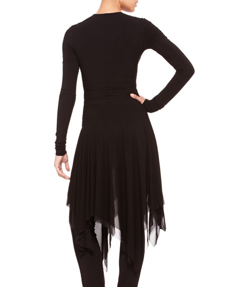 Long-Sleeve Chiffon-Hem Tunic