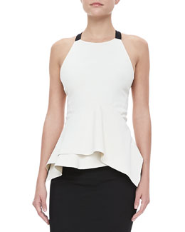 Donna Karan Cross-Back Peplum Top