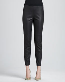 St. John Collection Luxe Leather-Front Knit-Back Pants, Caviar