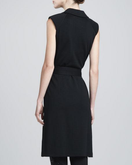 Sleeveless Milano Maxi Vest, Caviar
