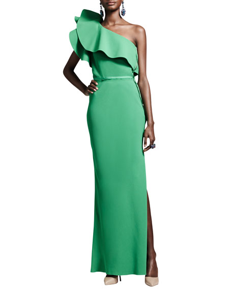 Ruffled One-Shoulder Gown, Green
