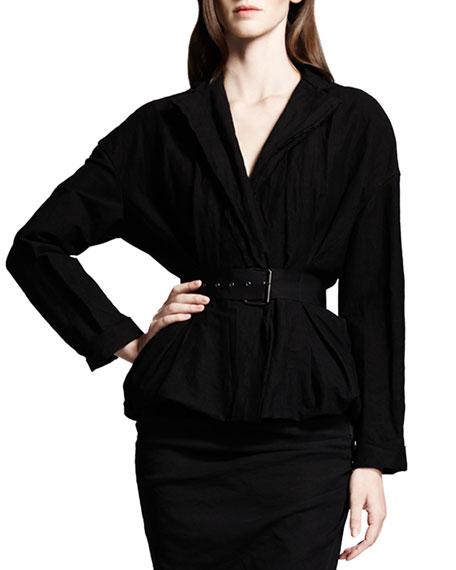 Dolman-Sleeve Linen-Blend Jacket, Black
