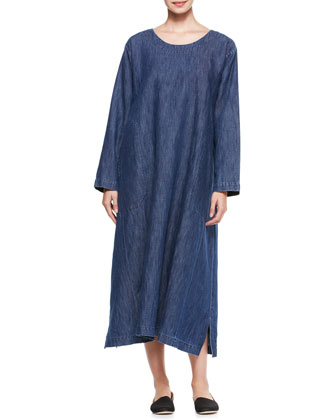 A-Line Round-Neck Dress, Denim