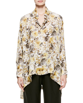 Hi-Low Silk Shirt with Collar, Ash/Gold
